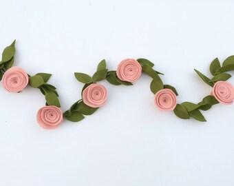 Blush Felt Flower Garland with Leaves, Rose Felt Garland, Nursery Decor, Baby Girl Shower Flower Decor, Wedding Decor
