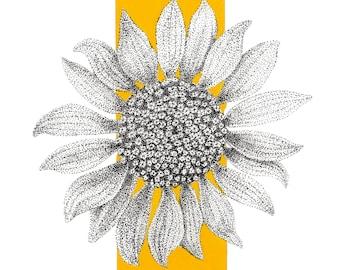 Sunflower print, botanical art, ink drawing, pointillism
