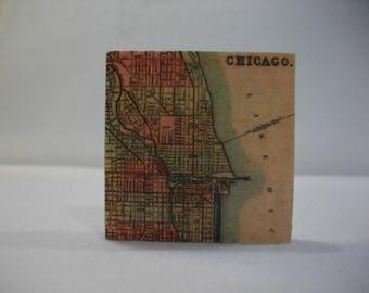 Magnets / Refrigerator Magnets  /  Chicago Vintage Map Magnet  /  Fridge Magnets  / Magnet for Home, School, or Office