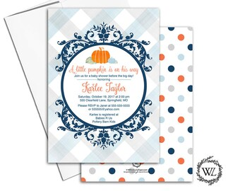 Little pumpkin baby shower invitation, fall baby shower invites boy, fall baby shower themed invitations, printable or printed - WLP00855