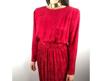 Vintage silk cherry red pleated dress by ARGENTI