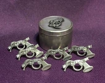 Napkin Rings 6 French Horn Fox Hunting Metzke Pewter