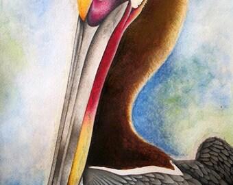 Original watercolor pelican painting- 12 x 18- 1 of 1- Bird watercolor painting- FREE SHIPPING