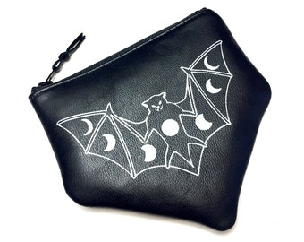 Leather Bat Pouch, Bat Zip Pouch, Moon Phase Zip Pouch