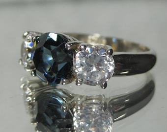 Vintage Sterling Silver London Blue Topaz Gemstone Ring Sz 7.5 M728