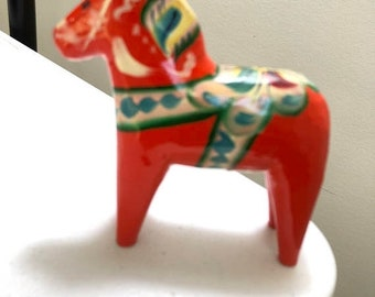 SUMMERSALE Nils Olsson Sweden, Swedish Wooden Dala Horse 4 inch tall Figurine