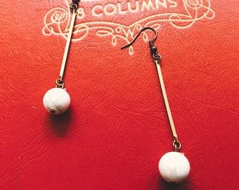drop dangle earrings    Marble and brass dangle earrings    white howlite orb earrings     brass earring  full moon drop earring