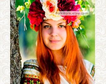 Hair wreath, spring flower crown, flower head wreath, floral crown, flower headband, summer crown, autumn crown, floral headpiece women