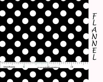 Black & White Dot Flannel Fabric, Polka Dot Flannel, Camelot Fabrics 21546 11, Black Cotton Flannel Yardage