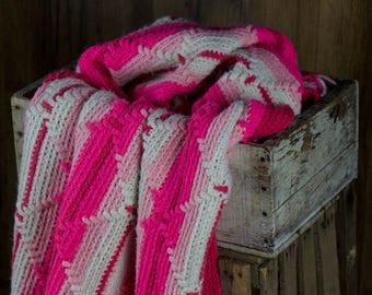 Vintage Pink Afghan w/ fringe