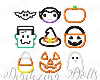 Mini Halloween Applique Set 2x2 Machine Embroidery Designs Vampire Bat Pumpkin Witch Hat Candy Corn Ghost INSTANT DOWNLOAD