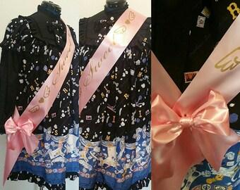 Custom Personalized Sash / Lolita / Sweet 16 / Bride / Bridal / Birthday / Pageant / Winner / Fashion /First Place / Bachelorette /Grad