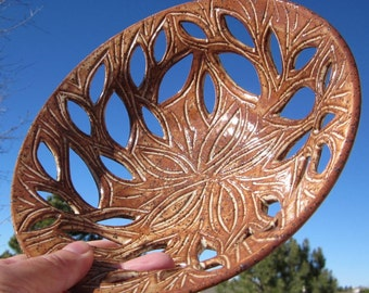 Leafy Bowl with Hand Carvings - Handmade Pottery