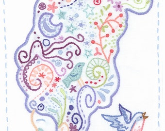 DIY Thinking Embroidery pattern PDF download hand embroidery patterns designs