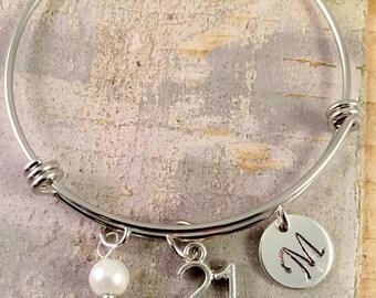 21st birthday gift, birthday bracelet, Initial Charm Bracelet, adjustable bangle, 21st birthday bracelet, pearl bracelet,  gift for her