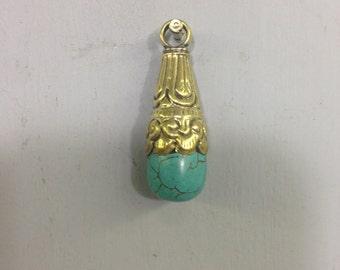 Pendant Tibetan Turquoise Embellished Brass Handmade Pendant Necklace Jewelry Unique Pendant