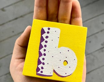 Custom Monogram mini-canvas *MAGNETIC!* - any letter with any 2 colors in my custom font! *Original art!!*