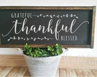 Farmhouse style VINYL decal / Grateful Thankful Blessed /  farmhouse kitchen sign  / thanksgiving sign / thankful decal