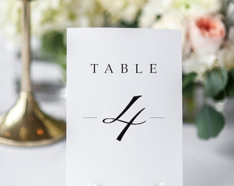Printable table numbers, Elegant wedding table numbers, Wedding table decor, Modern table numbers, Classic table number, DIY wedding decor