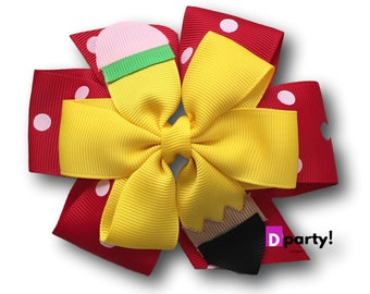 Back to School Bow, Pencil Pinwheel Bow, Back to School Hair Bow