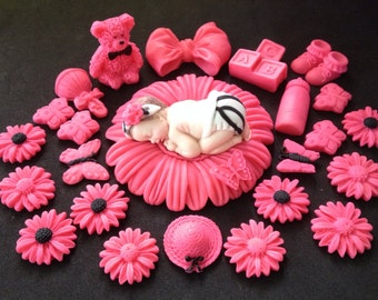 Fondant baby zebra hot pink daisy flower cake topper