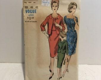 Vintage Vogue  Pattern 5921 1960's Dress Size 20 Bust 40 Hip 42 Plus Size
