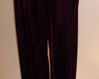 Vintage Anne Klein II Dark Berry Red Velvet Fuller Leg Pant, Size 10, Ca. 1987