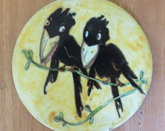 Vintage 1940's Cartoon Crows Tile Pot Holder - Hand Crafted - Walt Disney Style