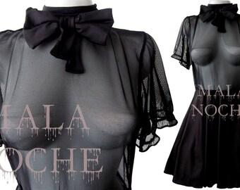 Raven dress,  Black short dress, Dress mesh, Goth dress, Dark dress, Witch dress, Vampire dress, Bow dress