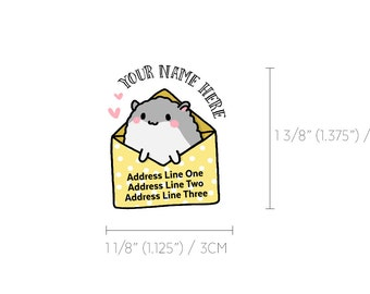 Cute Yellow & Grey Pastel Hammy Hamster Snail Mail Custom Mailing Address Labels