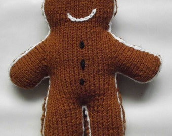 Gingerbread Man Ornament - Handknitted Soft Toy/Home Decor/Handmade Childrens Doll/Gift for a Child/Gift for a Newborn/Christmas Decor