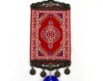 Handmade Turkish Carpet / Evil Eye – Nazar Alloy Wall Hanging