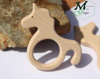 Natural wooden teething ring. Horse/Unicorn shape 1.