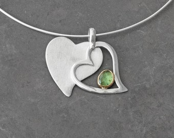 Heart Pendant Necklace, Green Tsavorite Garnet, 22 Karat Gold and Sterling Silver, Double Heart Love Pendant, Romantic Necklace for Her