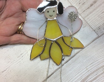 Stained glass fairy,  flower fairy suncatcher, fairies, magical creature, fairy gift