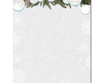 25 or 100pk White Christmas Winter Holiday Christmas Letterhead Stationery