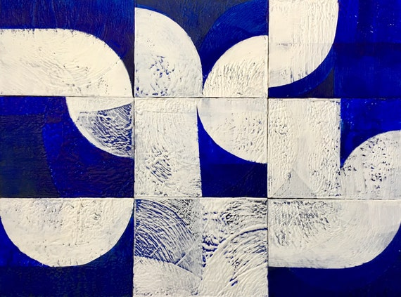Tree of Life, geometric blue and white abstract painting