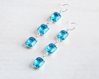Bright Aqua Earrings, Aqua Blue Dangle Earrings with Silver Plated Hooks, Rhinestone Jewelry
