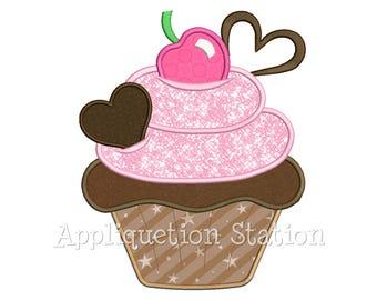 Cupcake Chocolate Hearts Applique Machine Embroidery Design dessert cake birthday Valentine INSTANT DOWNLOAD