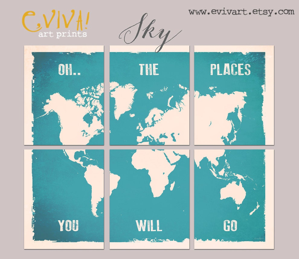 World map wall decor inspiration quote oh the places you zoom gumiabroncs Image collections