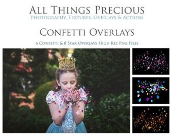 14 High Res Fine Art Digital CONFETTI Overlays