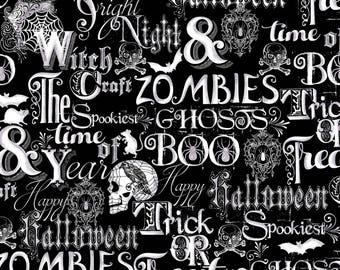 Halloween Words Fabric Fright Night Henry Glass First Blush Studios Metallic Cotton