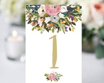 Wedding table numbers printable, floral table numbers, table number cards, rustic wedding decor printable table numbers wedding table number