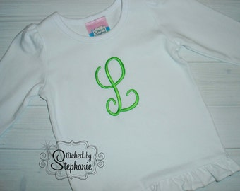 Girls Embroidered Personalized Monogrammed Initial Lime green on White Long Sleeve Shirt with Ruffle Hem