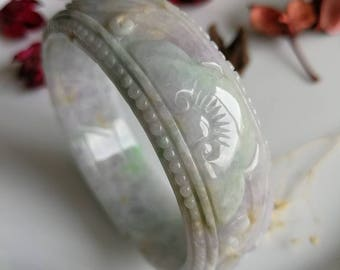 57.1mm Lavender Green Type A Jadeite Jade Ruyi Carving Bangle