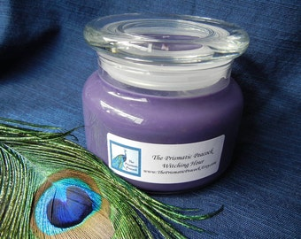 Witching Hour Scented Soy Candle 12 oz Apothecary Jar Purple