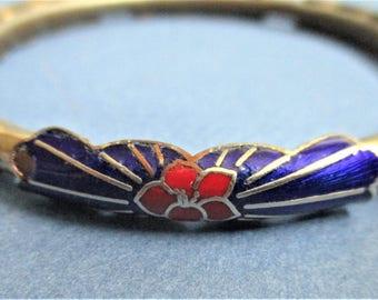 Lapis Blue Cloisonne Bracelet Asian Enamel Bangle Blue Red Gold Floral Enamel Vintage Cloisonne Jewelry Wedding Party Bridesmaid Gift