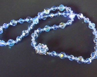 Vintage Necklace Blue Crystal Beads Something Old Something New Wedding Jewelry Bridal Bride Costume Jewelry