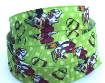 SOLD by the meter 16 mm mickey grosgrain Ribbon