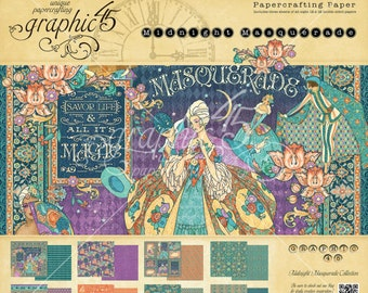 "Graphic 45 ""Midnight Masquerade"" 12 x 12 Paper pad Cardstock Collection"